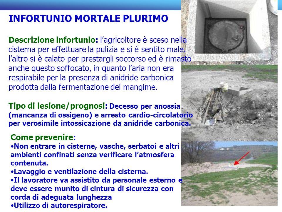 INFORTUNIO MORTALE PLURIMO Descrizione infortunio: lagricoltore è sceso nella cisterna per effettuare la pulizia e si è sentito male. laltro si è cala