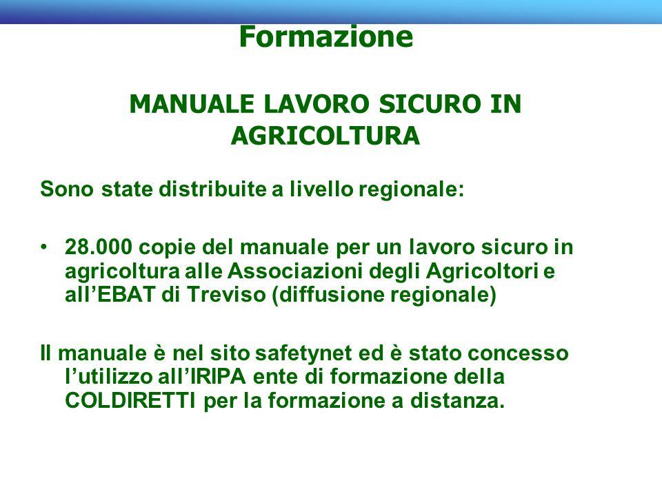 Formazione MANUALE LAVORO SICURO IN AGRICOLTURA Sono state distribuite a livello regionale: 28.000 copie del manuale per un lavoro sicuro in agricoltu