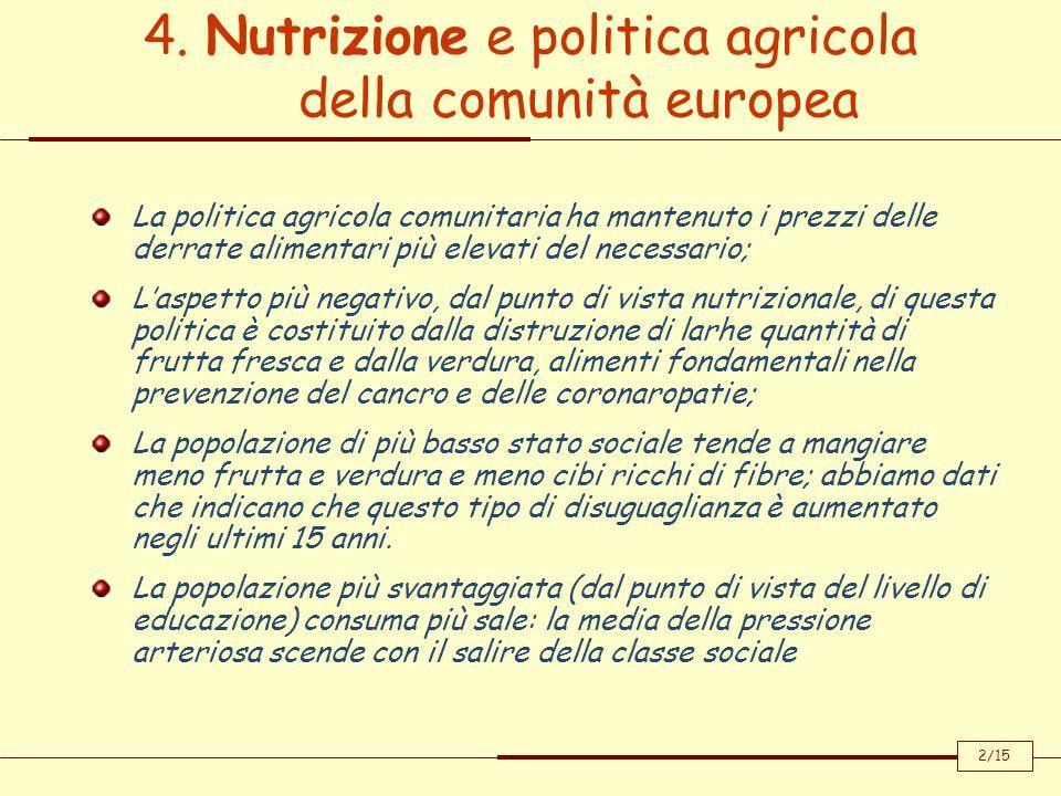 4. Nutrizione e politica agricola della comunità europea La politica agricola comunitaria ha mantenuto i prezzi delle derrate alimentari più elevati d