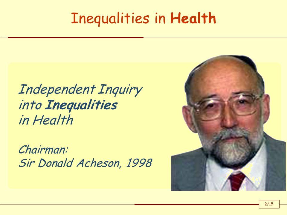 Sebbene la mortalità generale si sia ridotta fortemente negli ultimi 50 anni persistono inaccettabili disuguaglianza nel campo della salute.