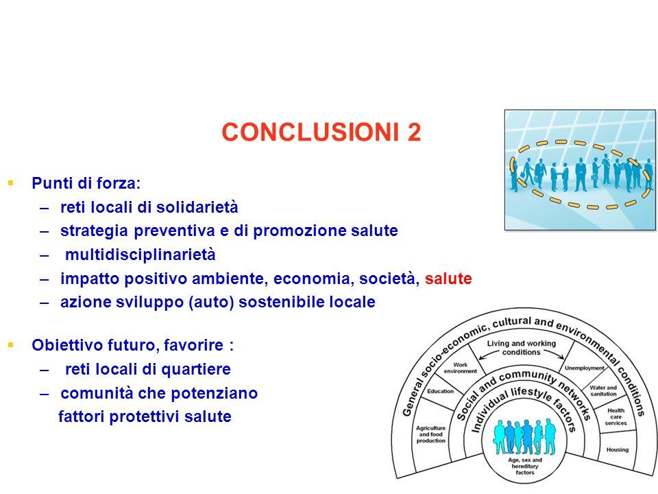 Punti di forza: – –reti locali di solidarietà – –strategia preventiva e di promozione salute – – multidisciplinarietà – –impatto positivo ambiente, ec