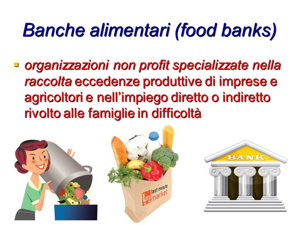 Banche alimentari (food banks) organizzazioni non profit specializzate nella raccolta eccedenze produttive di imprese e agricoltori e nellimpiego dire