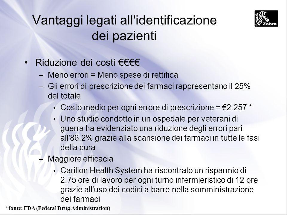 Vantaggi legati all'identificazione dei pazienti Riduzione dei costi –Meno errori = Meno spese di rettifica –Gli errori di prescrizione dei farmaci ra