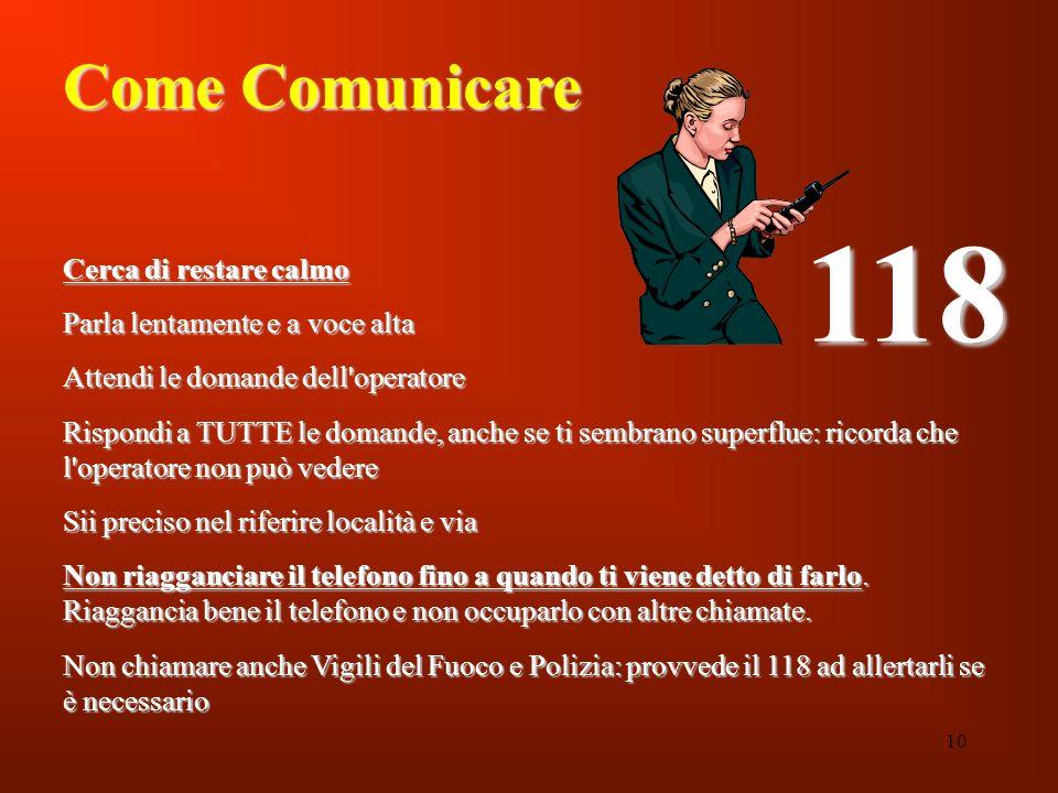 10 Come Comunicare Cerca di restare calmo Parla lentamente e a voce alta Attendi le domande dell'operatore Rispondi a TUTTE le domande, anche se ti se