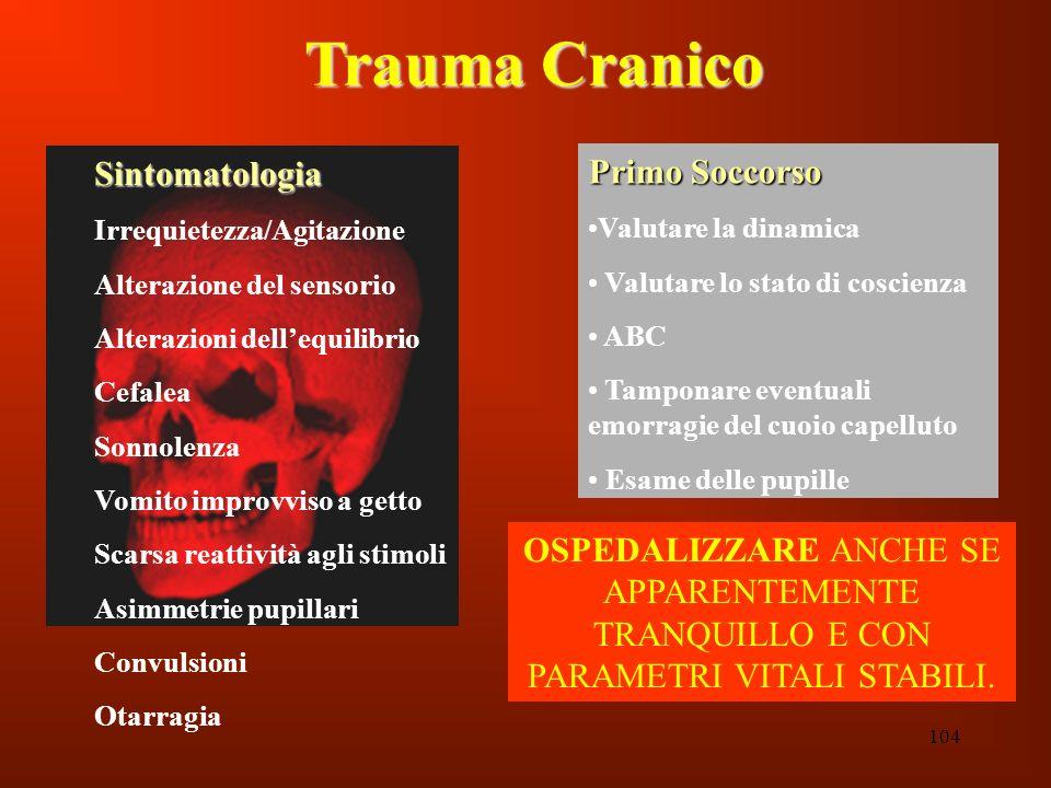 104 Trauma Cranico Sintomatologia Irrequietezza/Agitazione Alterazione del sensorio Alterazioni dellequilibrio Cefalea Sonnolenza Vomito improvviso a