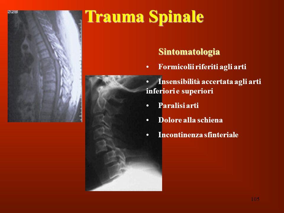 105 Trauma Spinale Sintomatologia Formicolii riferiti agli arti Insensibilità accertata agli arti inferiori e superiori Paralisi arti Dolore alla schi