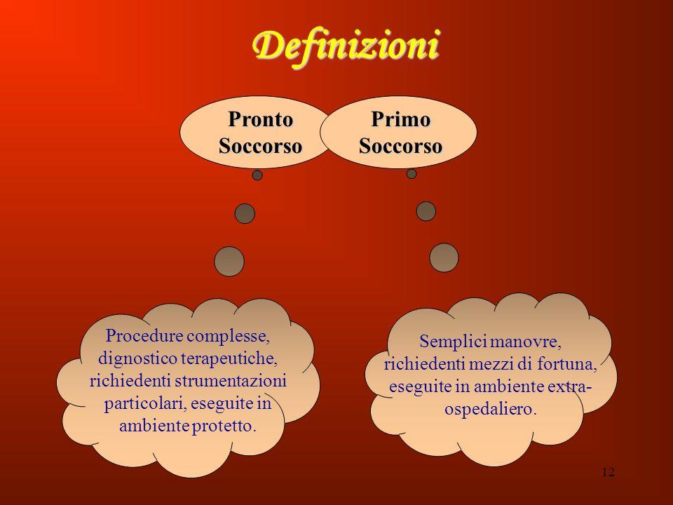 12 Definizioni Procedure complesse, dignostico terapeutiche, richiedenti strumentazioni particolari, eseguite in ambiente protetto. Pronto Soccorso Pr