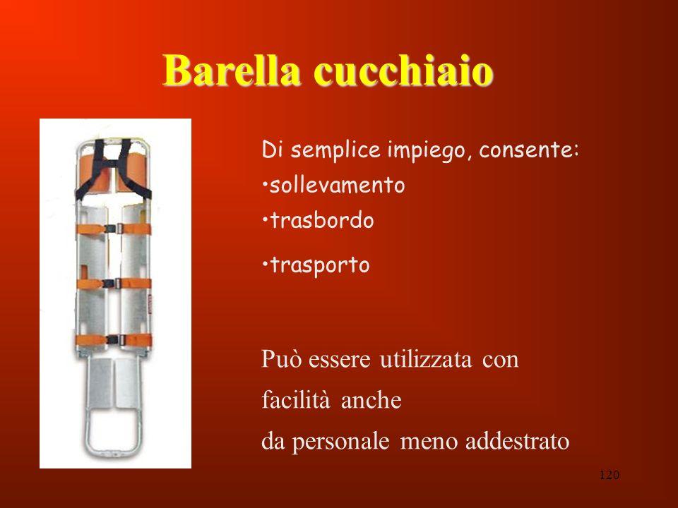 120 Di semplice impiego, consente: sollevamento trasbordo trasporto Può essere utilizzata con facilità anche da personale meno addestrato Barella cucc