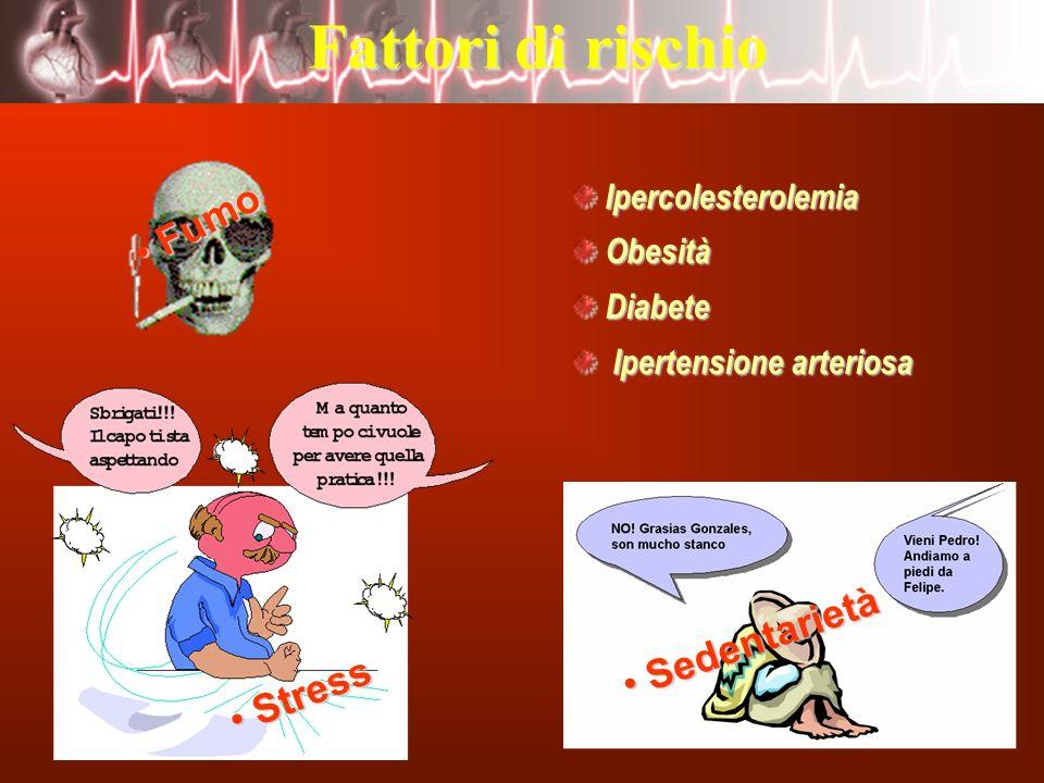40 Fattori di rischio IpercolesterolemiaObesitàDiabete Ipertensione arteriosa Ipertensione arteriosa Stress Stress Sedentarietà Sedentarietà Fumo Fumo