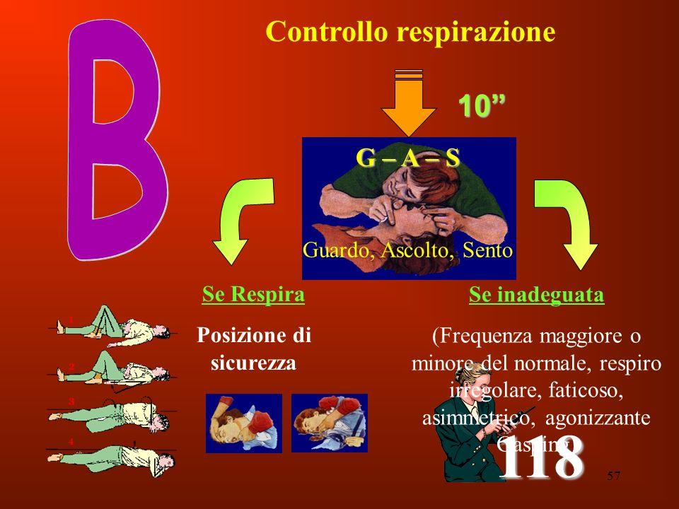 57 Controllo respirazione G – A – S Guardo, Ascolto, Sento 118 10 Se inadeguata (Frequenza maggiore o minore del normale, respiro irregolare, faticoso