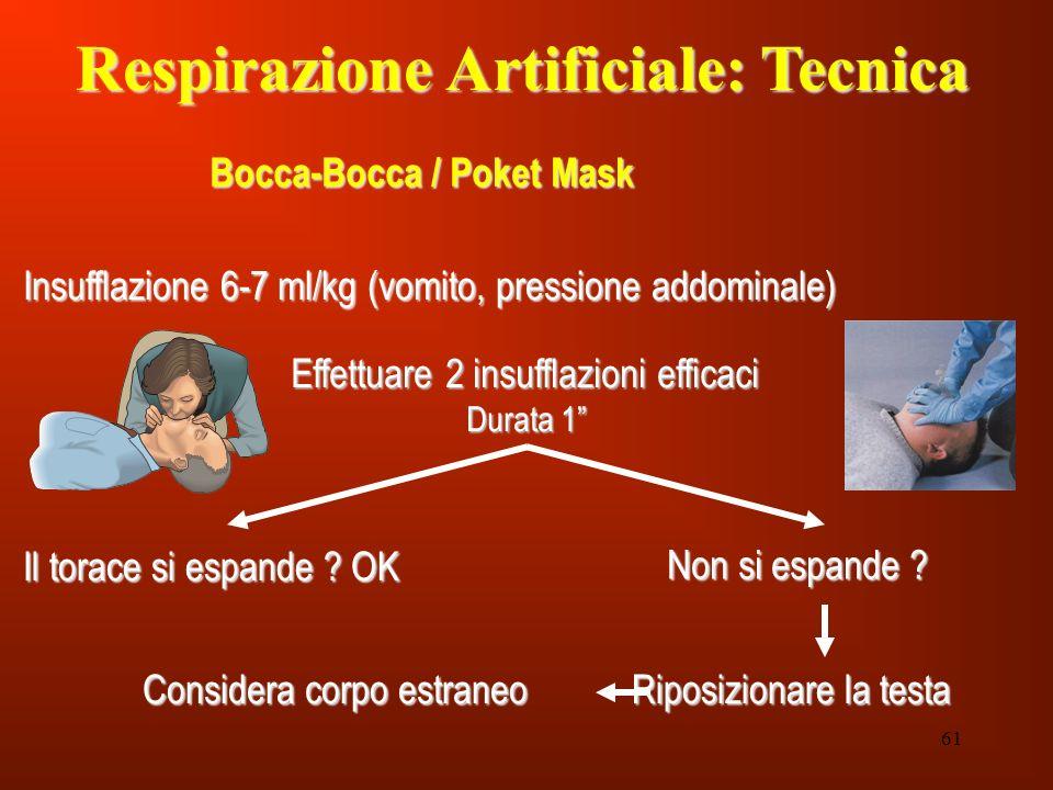 61 Respirazione Artificiale: Tecnica Bocca-Bocca / Poket Mask Insufflazione 6-7 ml/kg (vomito, pressione addominale) Effettuare 2 insufflazioni effica