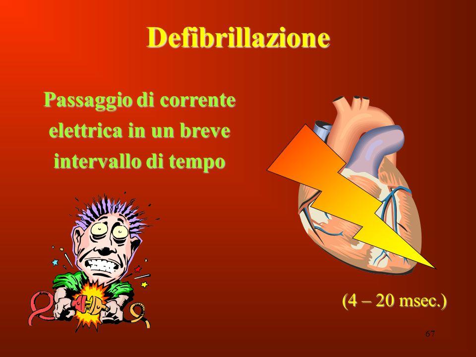67 Defibrillazione Passaggio di corrente elettrica in un breve intervallo di tempo (4 – 20 msec.)