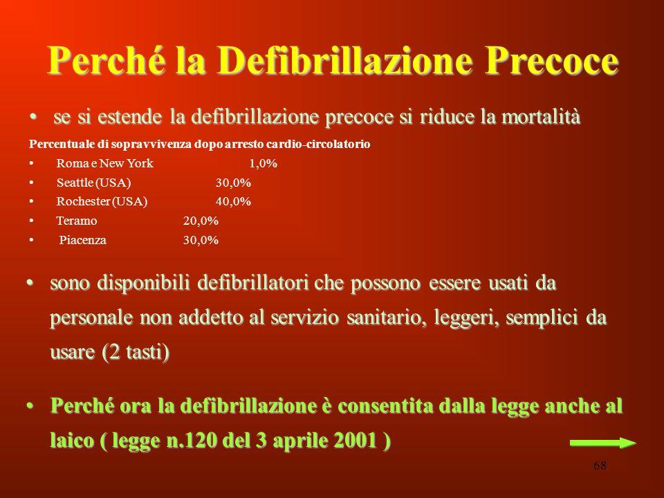 68 Perché la Defibrillazione Precoce sono disponibili defibrillatori che possono essere usati da personale non addetto al servizio sanitario, leggeri,