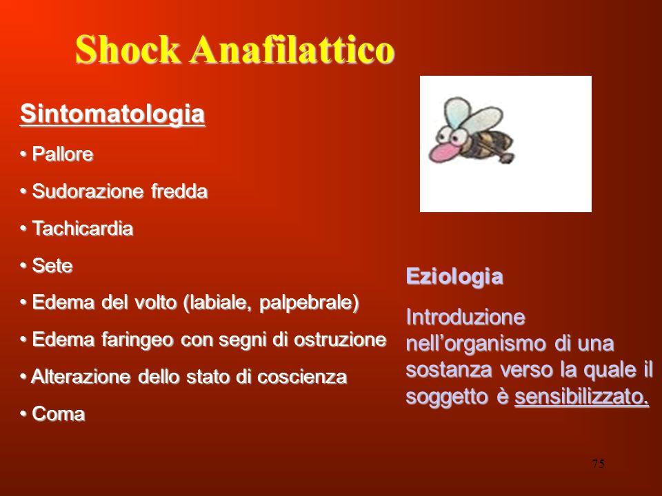 75 Shock Anafilattico Sintomatologia Pallore Pallore Sudorazione fredda Sudorazione fredda Tachicardia Tachicardia Sete Sete Edema del volto (labiale,