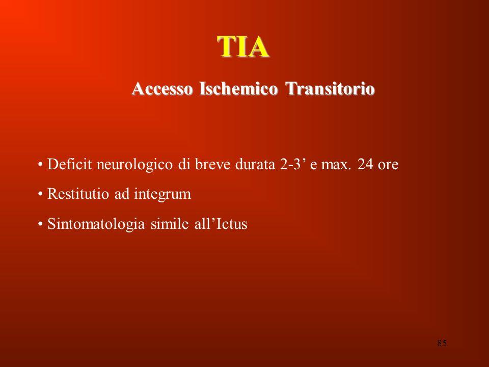 85 TIA Accesso Ischemico Transitorio Deficit neurologico di breve durata 2-3 e max. 24 ore Restitutio ad integrum Sintomatologia simile allIctus