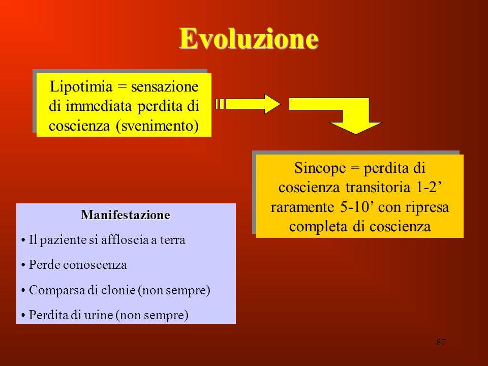 87 Evoluzione Lipotimia = sensazione di immediata perdita di coscienza (svenimento) Sincope = perdita di coscienza transitoria 1-2 raramente 5-10 con
