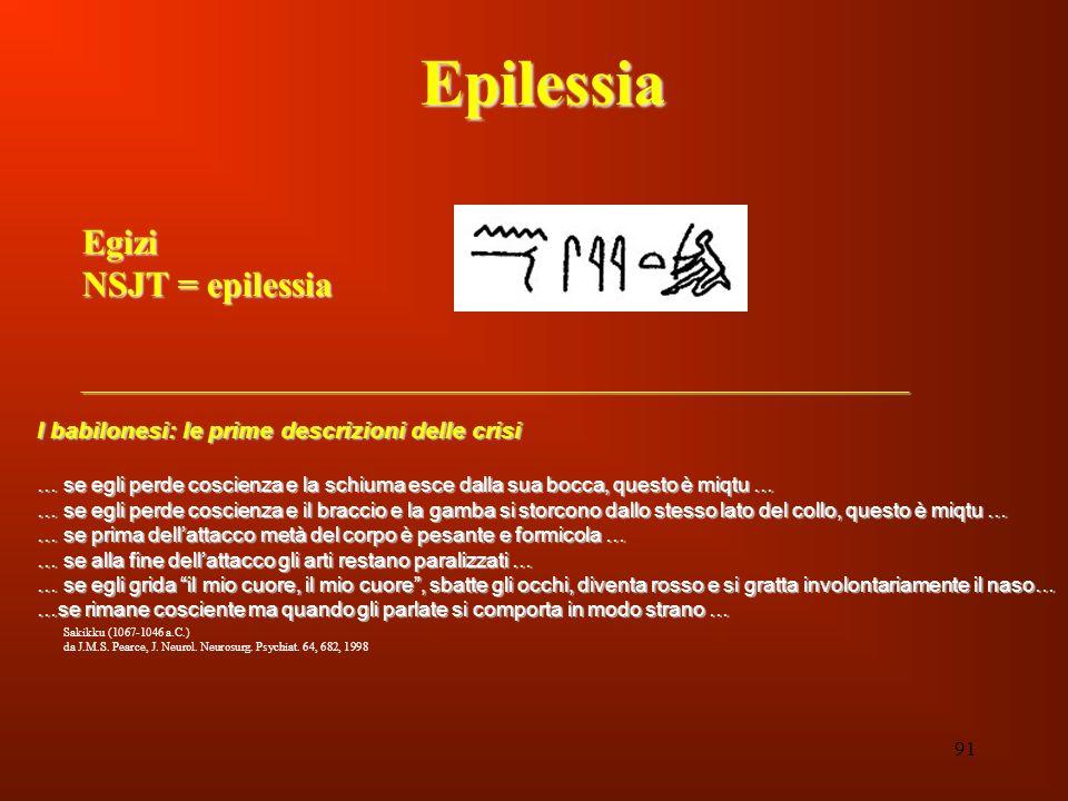 91 EpilessiaEgizi NSJT = epilessia I babilonesi: le prime descrizioni delle crisi … se egli perde coscienza e la schiuma esce dalla sua bocca, questo