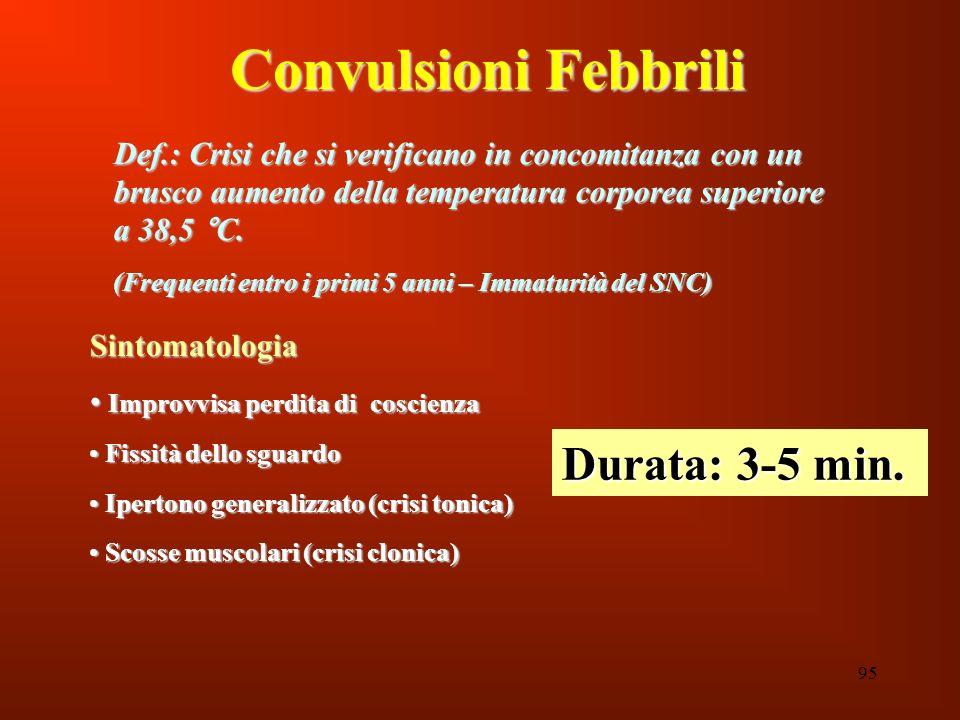 95 Convulsioni Febbrili Def.: Crisi che si verificano in concomitanza con un brusco aumento della temperatura corporea superiore a 38,5 °C. (Frequenti