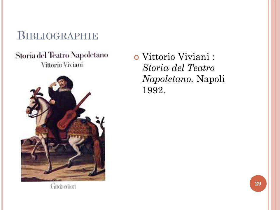 B IBLIOGRAPHIE 29 Vittorio Viviani : Storia del Teatro Napoletano. Napoli 1992.