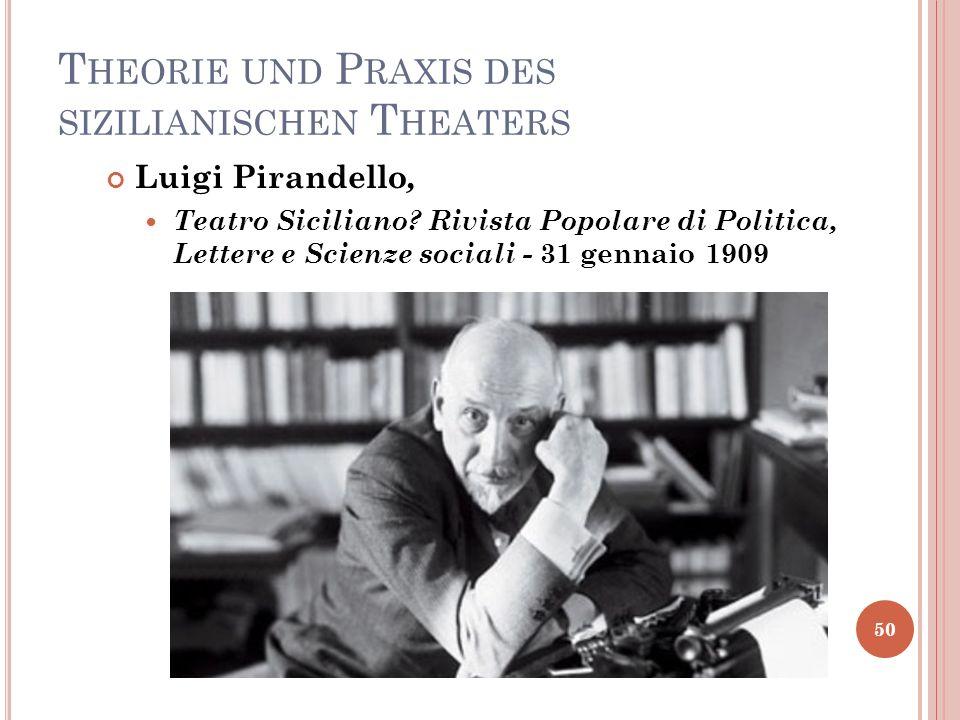 T HEORIE UND P RAXIS DES SIZILIANISCHEN T HEATERS 50 Luigi Pirandello, Teatro Siciliano? Rivista Popolare di Politica, Lettere e Scienze sociali - 31