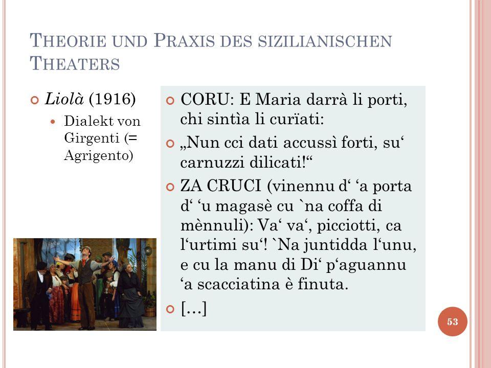 T HEORIE UND P RAXIS DES SIZILIANISCHEN T HEATERS 53 Liolà (1916) Dialekt von Girgenti (= Agrigento) CORU: E Maria darrà li porti, chi sintìa li curïa