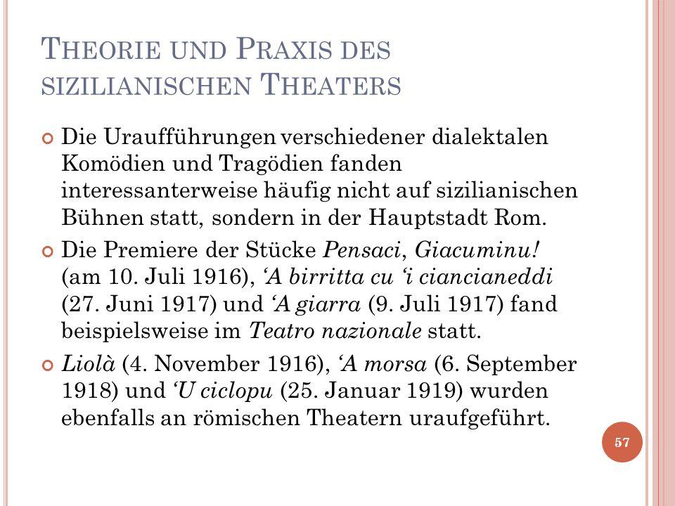 T HEORIE UND P RAXIS DES SIZILIANISCHEN T HEATERS Die Uraufführungen verschiedener dialektalen Komödien und Tragödien fanden interessanterweise häufig