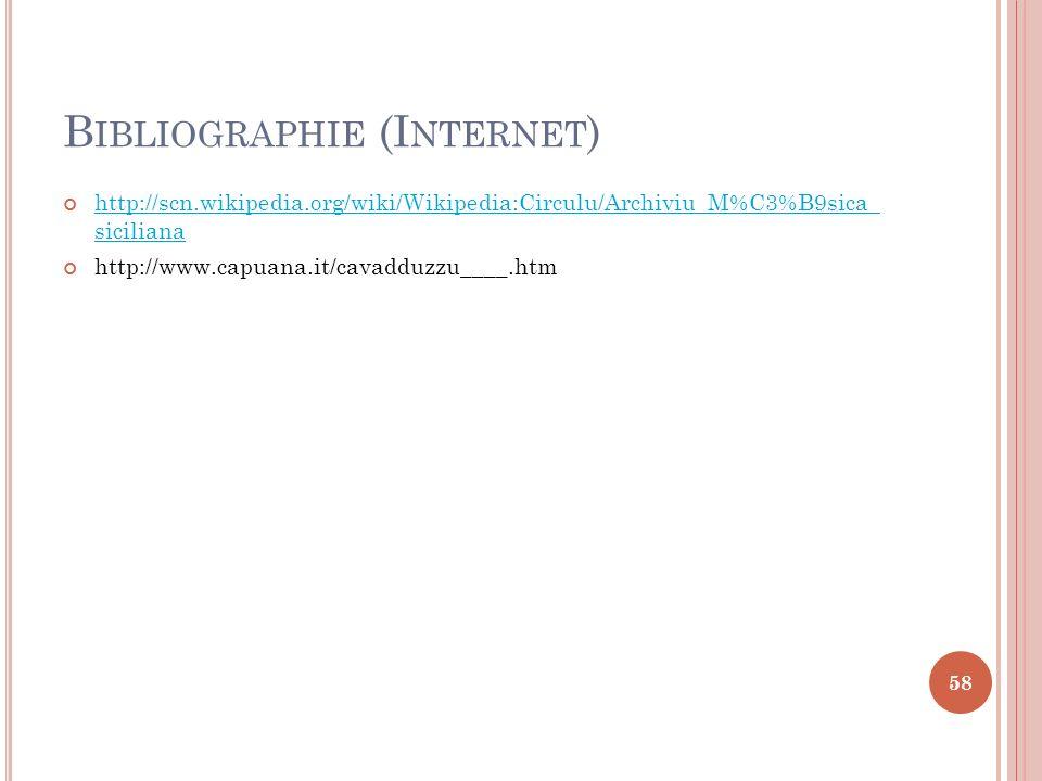 B IBLIOGRAPHIE (I NTERNET ) http://scn.wikipedia.org/wiki/Wikipedia:Circulu/Archiviu_M%C3%B9sica_ siciliana http://scn.wikipedia.org/wiki/Wikipedia:Ci
