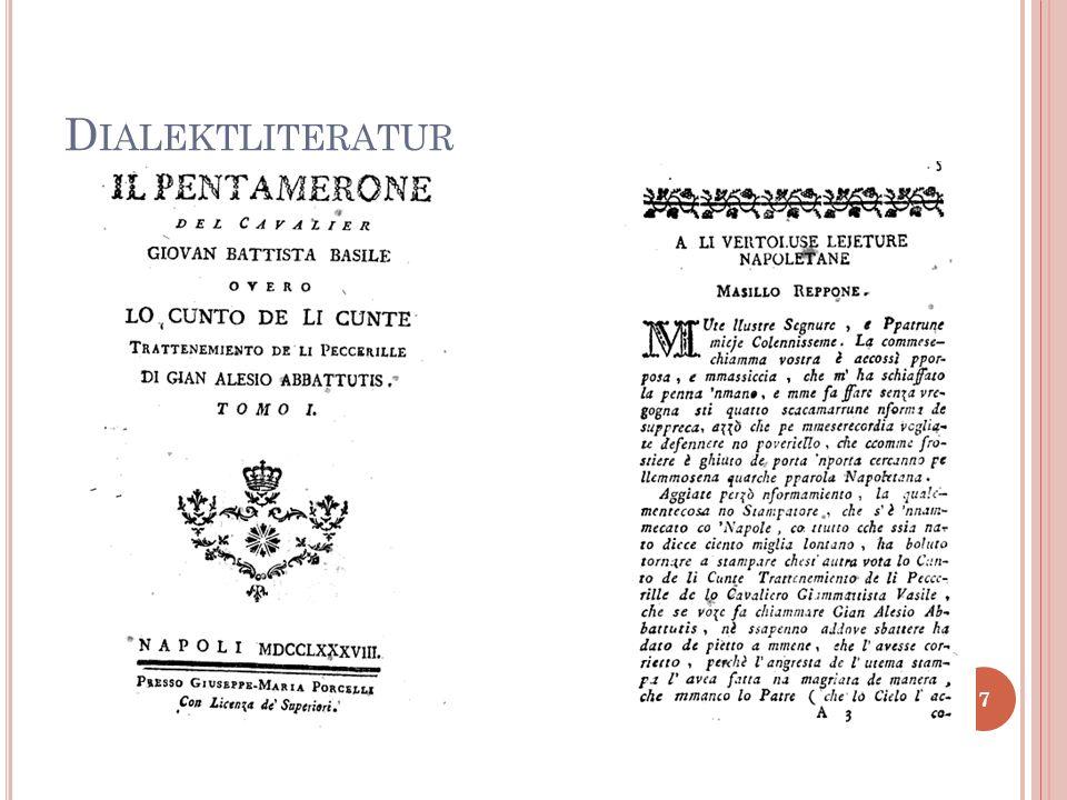 Klassische lateinische Stoffe Ü BERSETZUNGEN INS N EAPOLITANISCHE (I) 8
