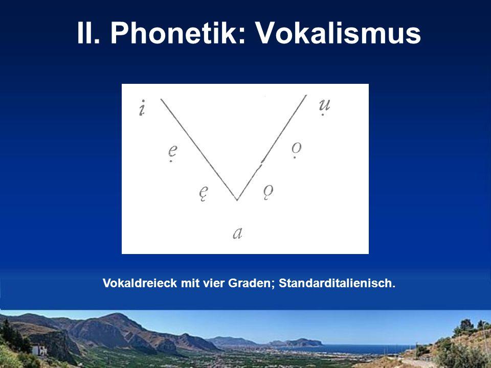 II. Phonetik: Vokalismus Vokaldreieck mit vier Graden; Standarditalienisch.