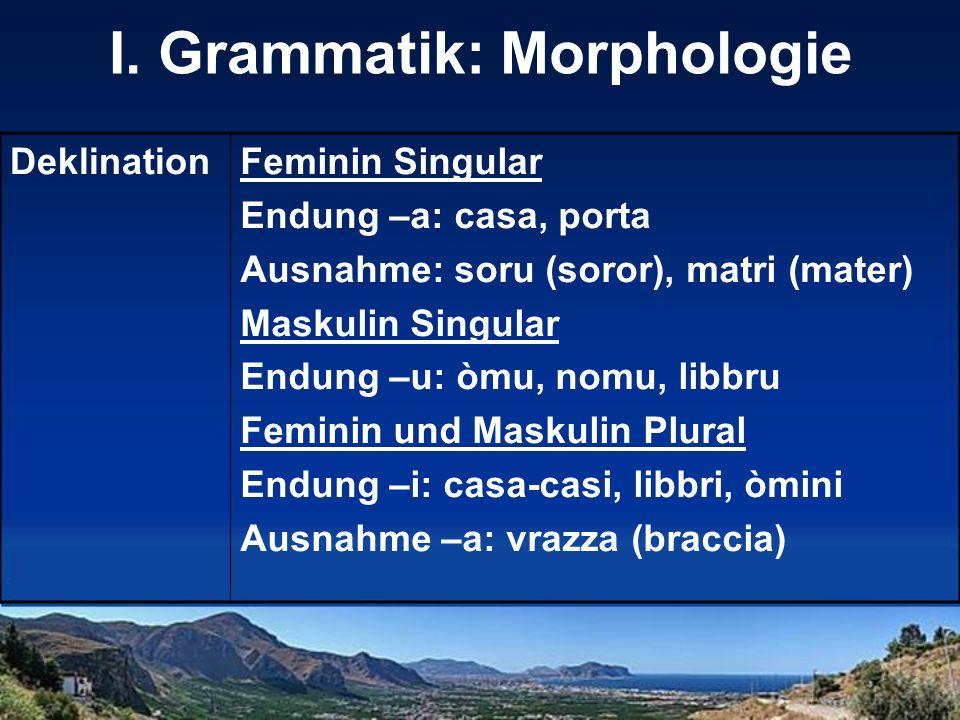 I. Grammatik: Morphologie DeklinationFeminin Singular Endung –a: casa, porta Ausnahme: soru (soror), matri (mater) Maskulin Singular Endung –u: òmu, n