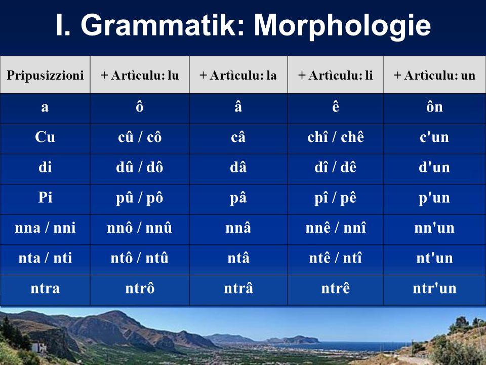 I. Grammatik: Morphologie Pripusizzioni+ Artìculu: lu+ Artìculu: la+ Artìculu: li+ Artìculu: un aôâêôn Cucû / côcâchî / chêc'un didû / dôdâdî / dêd'un