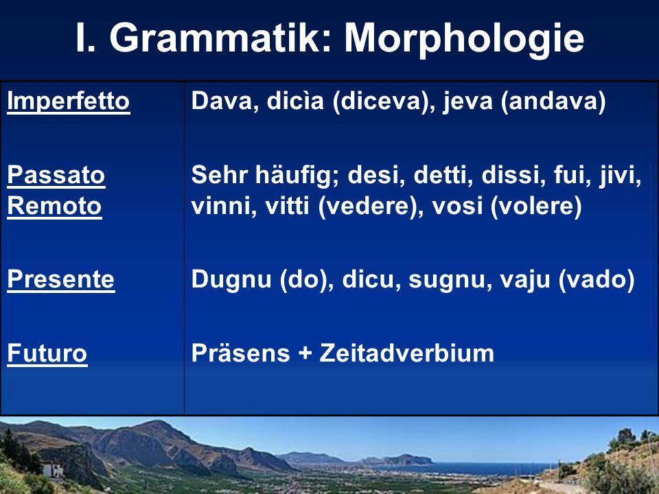 I. Grammatik: Morphologie Imperfetto Passato Remoto Presente Futuro Dava, dicìa (diceva), jeva (andava) Sehr häufig; desi, detti, dissi, fui, jivi, vi