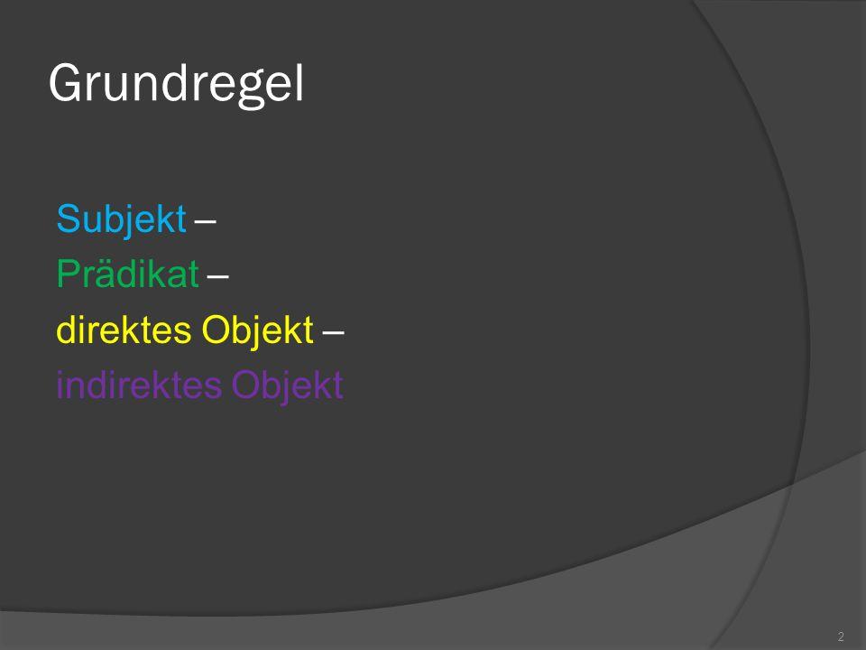 Grundregel - Hauptsatz Subjekt – Prädikat – direktes Objekt – indirektes Objekt Il medico ha dato questo consiglio al mio amico 3