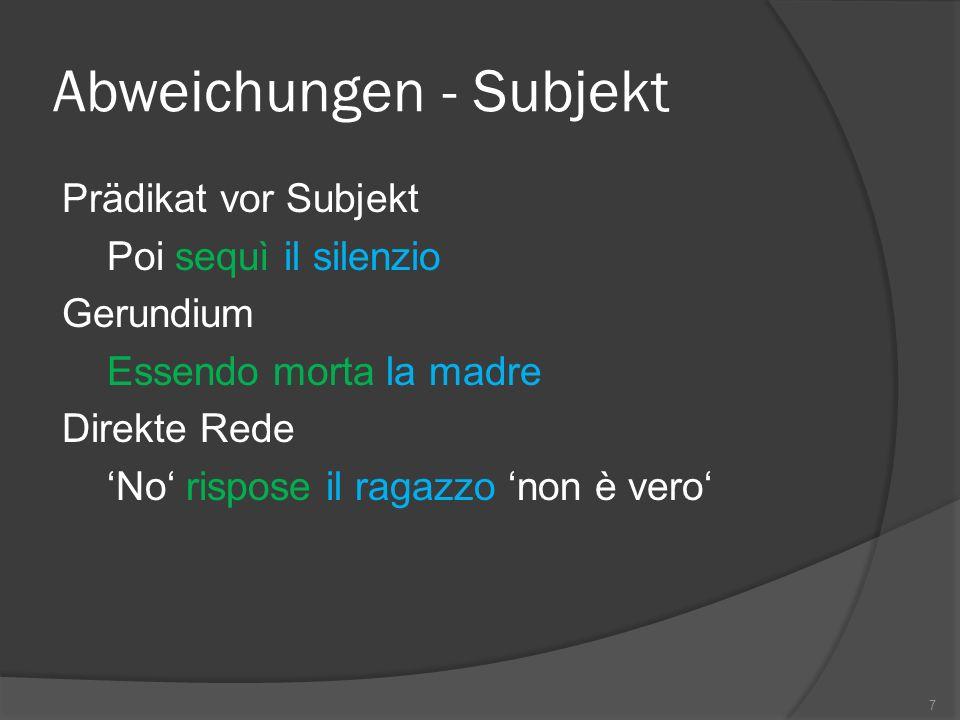 Abweichungen - Subjekt Prädikat vor Subjekt Poi sequì il silenzio Gerundium Essendo morta la madre Direkte Rede No rispose il ragazzo non è vero 7