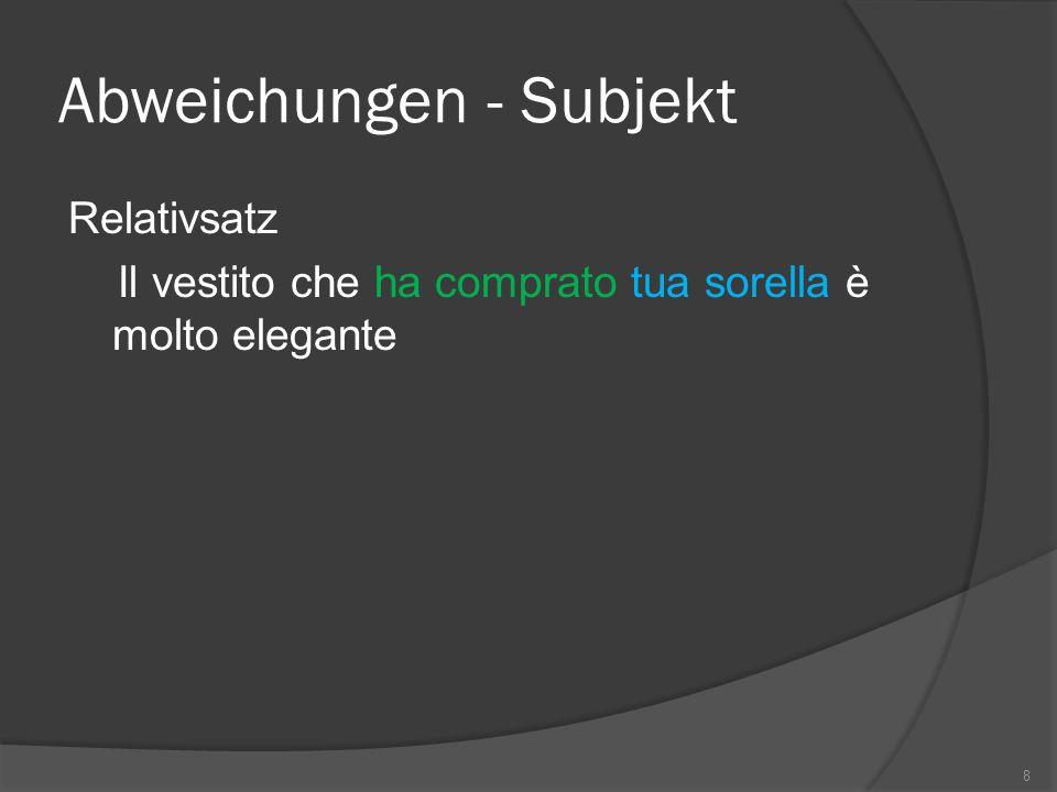 Abweichungen - Subjekt Relativsatz Il vestito che ha comprato tua sorella è molto elegante 8