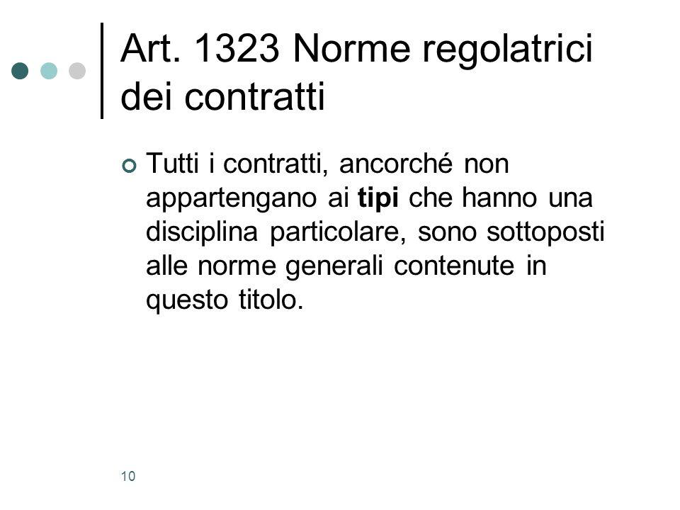 10 Art. 1323 Norme regolatrici dei contratti Tutti i contratti, ancorché non appartengano ai tipi che hanno una disciplina particolare, sono sottopost