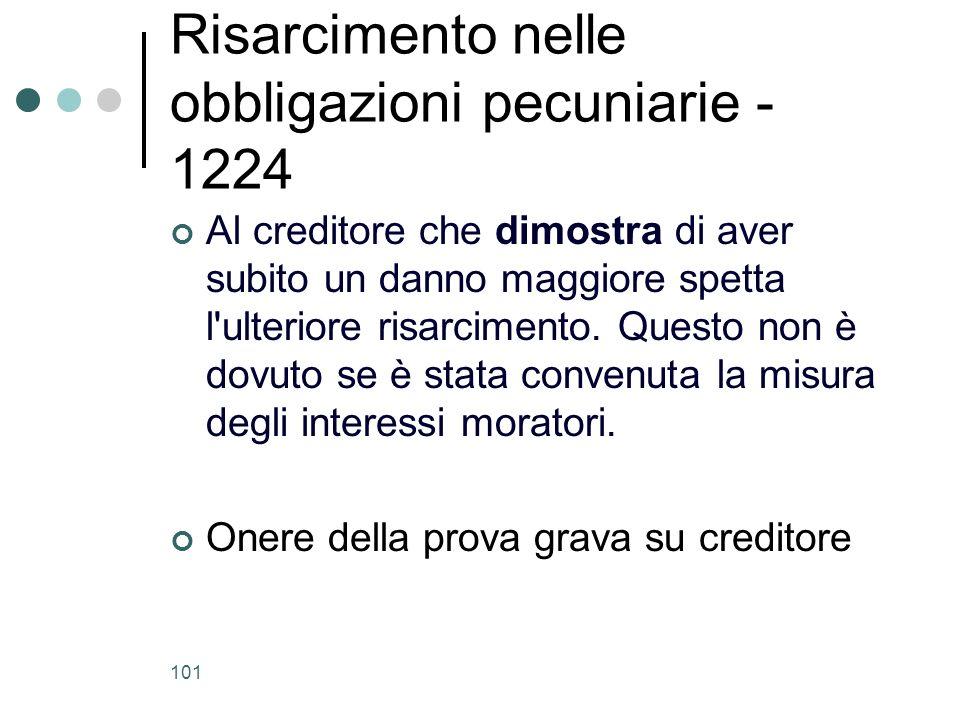 101 Risarcimento nelle obbligazioni pecuniarie - 1224 Al creditore che dimostra di aver subito un danno maggiore spetta l'ulteriore risarcimento. Ques