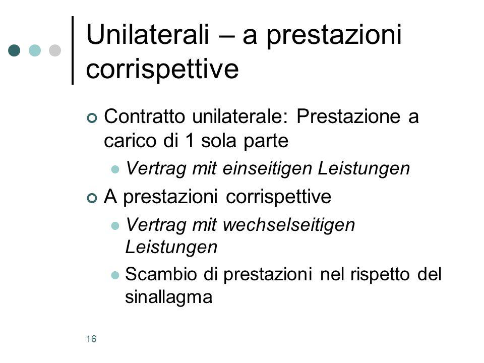 16 Unilaterali – a prestazioni corrispettive Contratto unilaterale: Prestazione a carico di 1 sola parte Vertrag mit einseitigen Leistungen A prestazi