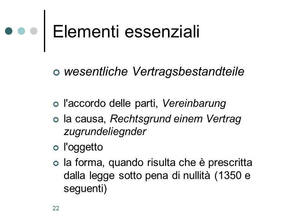 22 Elementi essenziali wesentliche Vertragsbestandteile l'accordo delle parti, Vereinbarung la causa, Rechtsgrund einem Vertrag zugrundeliegnder l'ogg