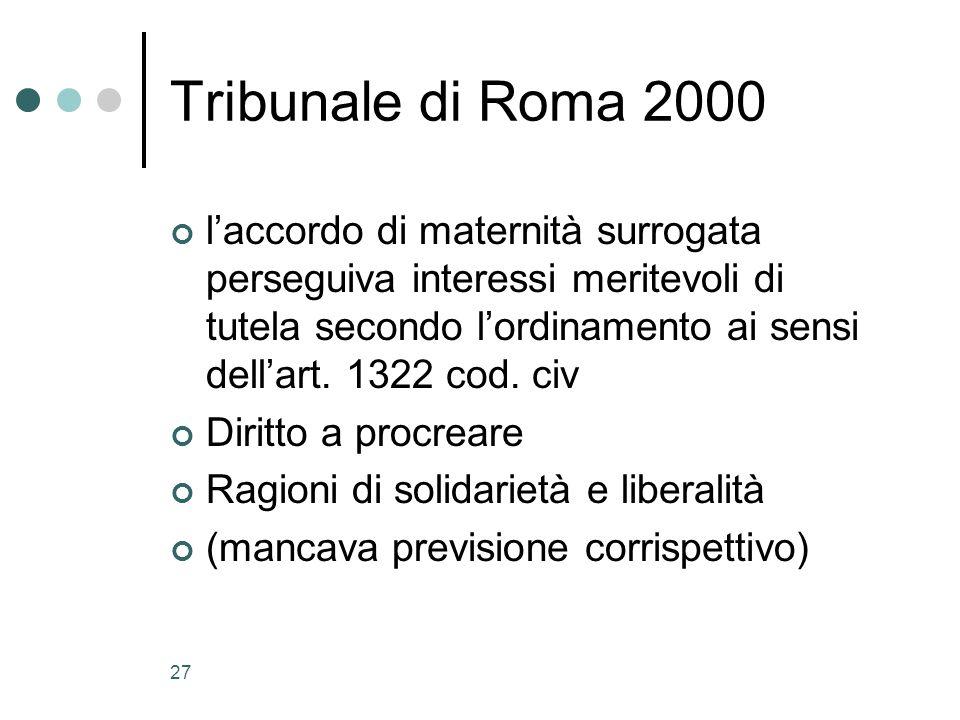 27 Tribunale di Roma 2000 laccordo di maternità surrogata perseguiva interessi meritevoli di tutela secondo lordinamento ai sensi dellart. 1322 cod. c