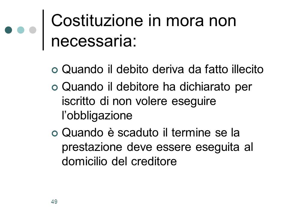 49 Costituzione in mora non necessaria: Quando il debito deriva da fatto illecito Quando il debitore ha dichiarato per iscritto di non volere eseguire