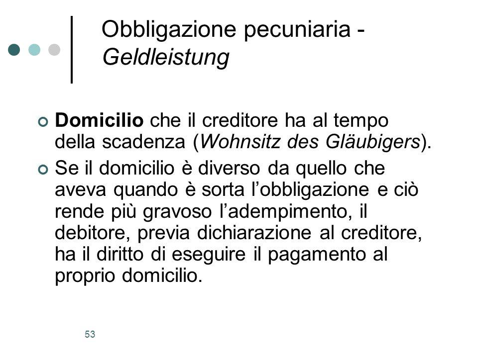 53 Obbligazione pecuniaria - Geldleistung Domicilio che il creditore ha al tempo della scadenza (Wohnsitz des Gläubigers). Se il domicilio è diverso d