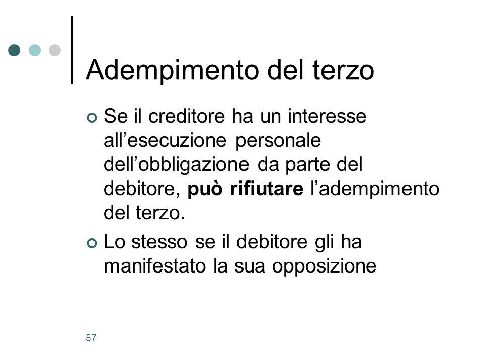 57 Adempimento del terzo Se il creditore ha un interesse allesecuzione personale dellobbligazione da parte del debitore, può rifiutare ladempimento de