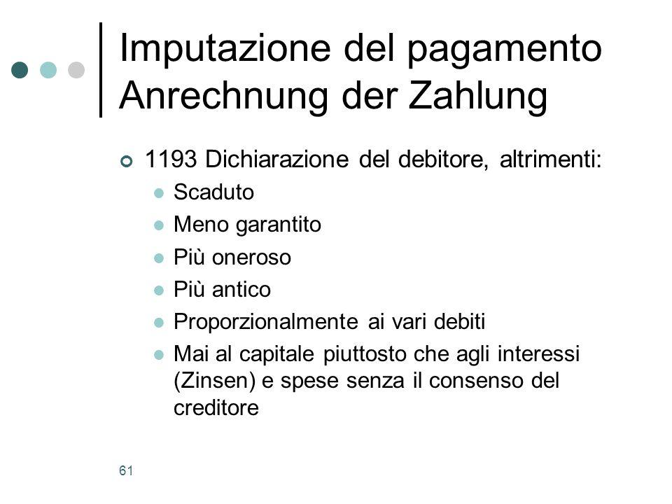 61 Imputazione del pagamento Anrechnung der Zahlung 1193 Dichiarazione del debitore, altrimenti: Scaduto Meno garantito Più oneroso Più antico Proporz