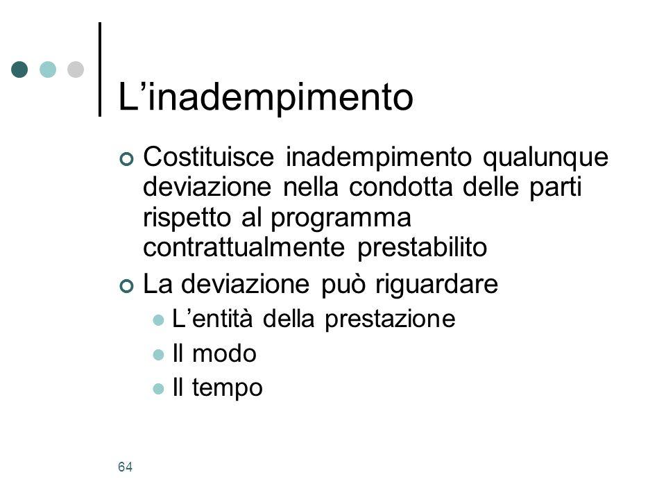 64 Linadempimento Costituisce inadempimento qualunque deviazione nella condotta delle parti rispetto al programma contrattualmente prestabilito La dev