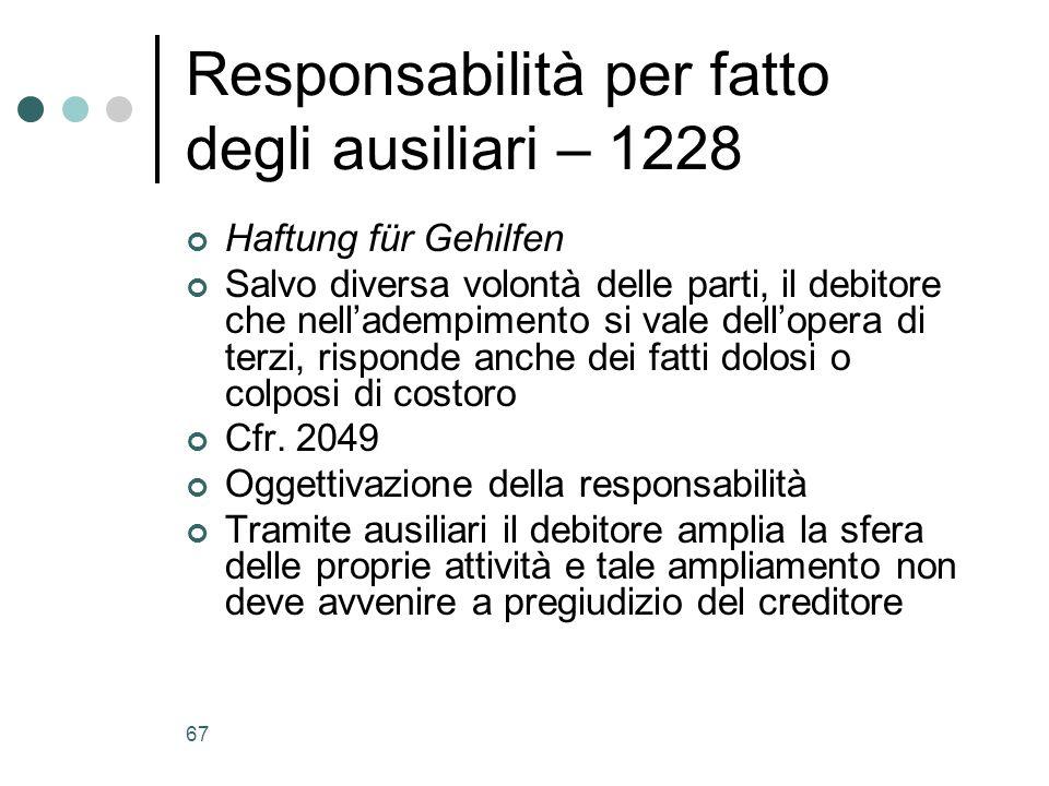 67 Responsabilità per fatto degli ausiliari – 1228 Haftung für Gehilfen Salvo diversa volontà delle parti, il debitore che nelladempimento si vale del