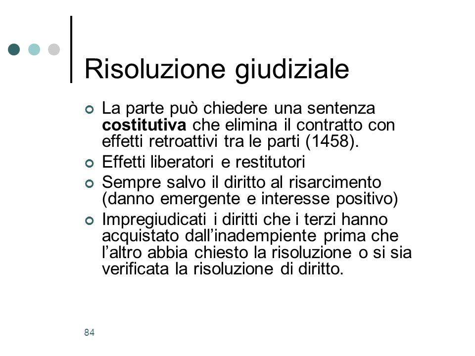 84 Risoluzione giudiziale La parte può chiedere una sentenza costitutiva che elimina il contratto con effetti retroattivi tra le parti (1458). Effetti