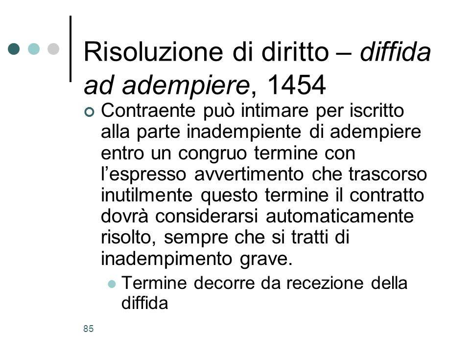 85 Risoluzione di diritto – diffida ad adempiere, 1454 Contraente può intimare per iscritto alla parte inadempiente di adempiere entro un congruo term