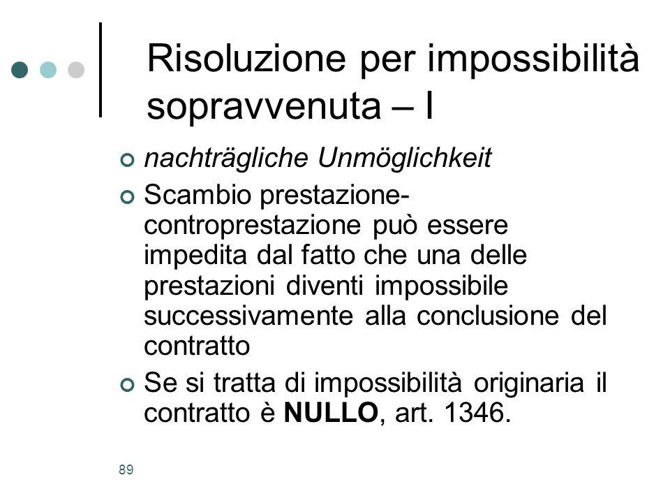 89 Risoluzione per impossibilità sopravvenuta – I nachträgliche Unmöglichkeit Scambio prestazione- controprestazione può essere impedita dal fatto che