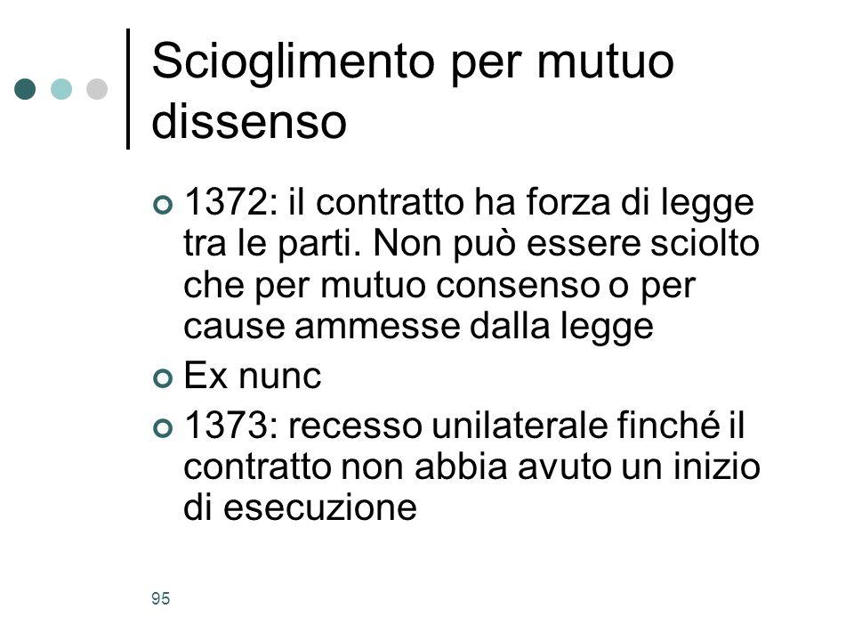 95 Scioglimento per mutuo dissenso 1372: il contratto ha forza di legge tra le parti. Non può essere sciolto che per mutuo consenso o per cause ammess